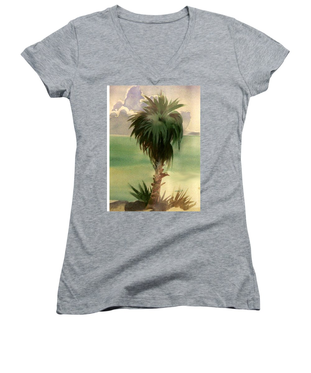 Palm Women's V-Neck T-Shirt featuring the painting Palm At Horseshoe Cove by Neal Smith-Willow