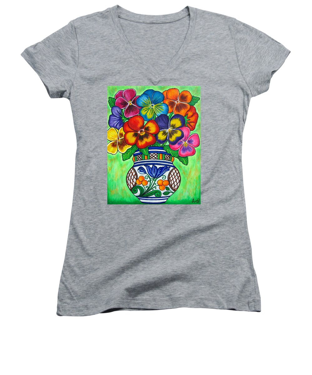 Flower Women's V-Neck T-Shirt featuring the painting Pansy Parade by Lisa Lorenz