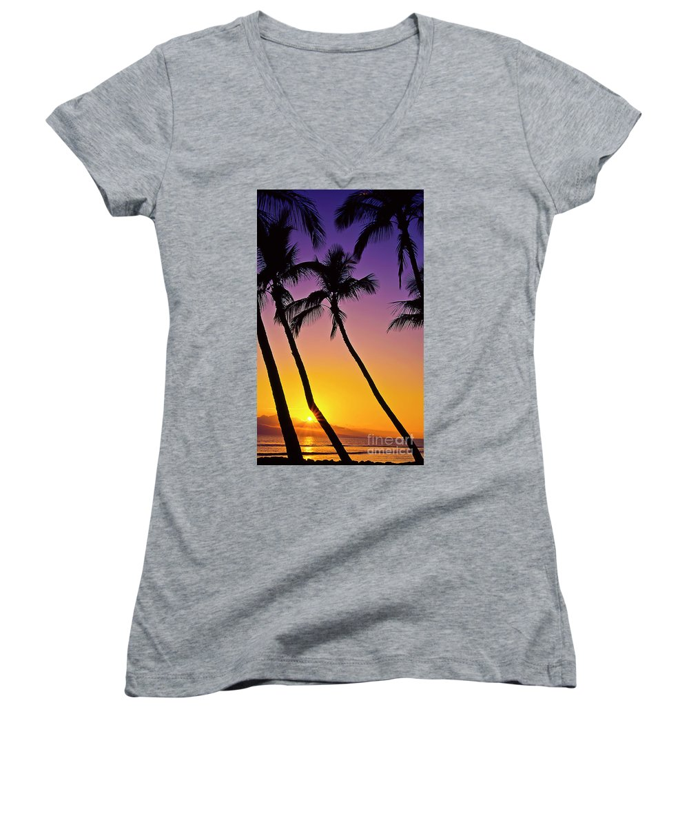 Sunset Women's V-Neck T-Shirt featuring the photograph Paradise by Jim Cazel