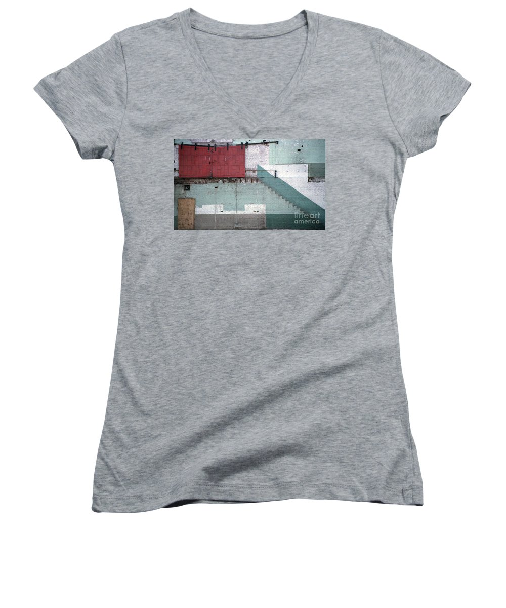 Abstract Women's V-Neck T-Shirt featuring the photograph Partial Demolition by Richard Rizzo