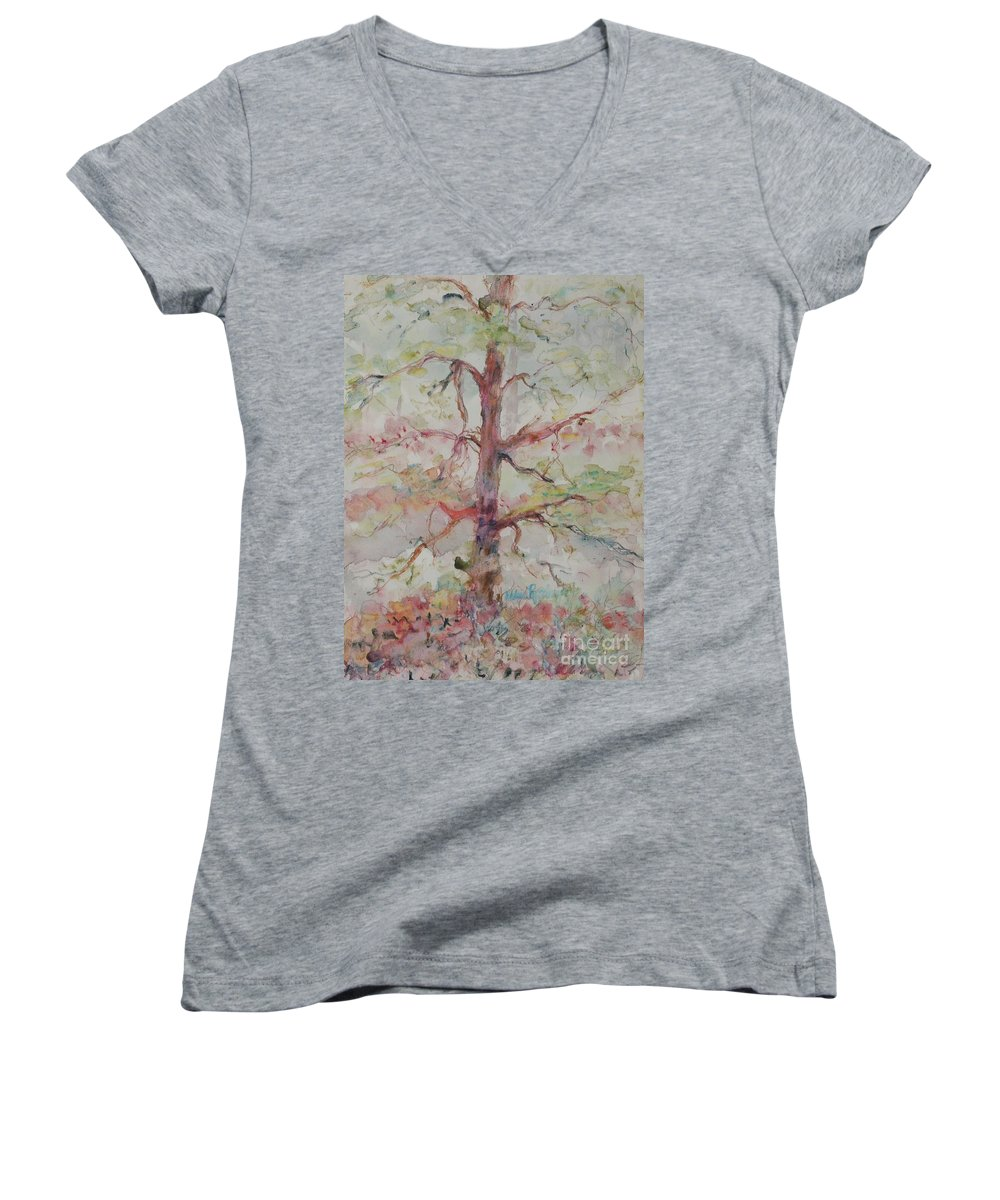 Forest Women's V-Neck T-Shirt featuring the painting Pastel Forest by Nadine Rippelmeyer