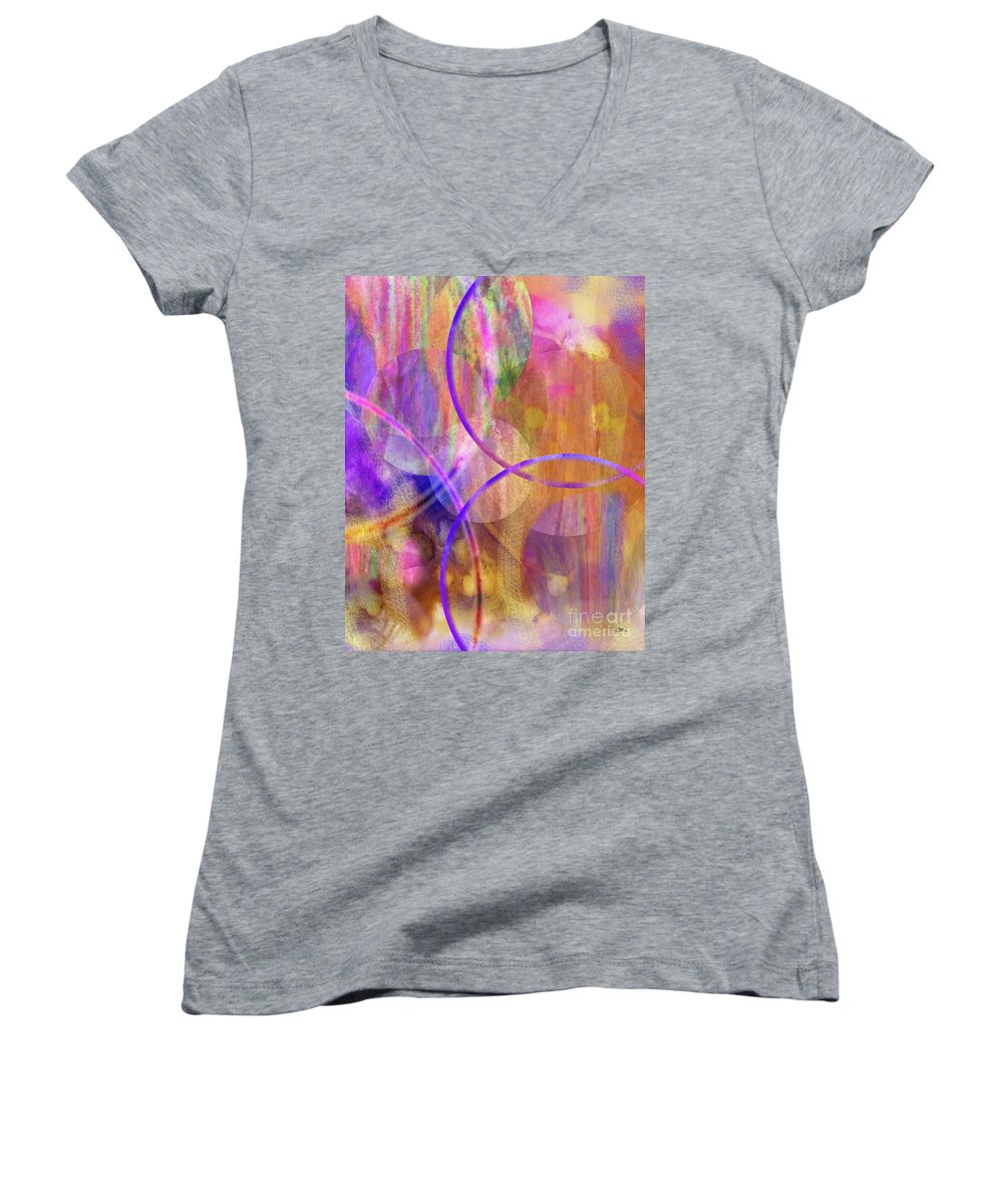 Pastel Planets Women's V-Neck (Athletic Fit) featuring the digital art Pastel Planets by John Beck