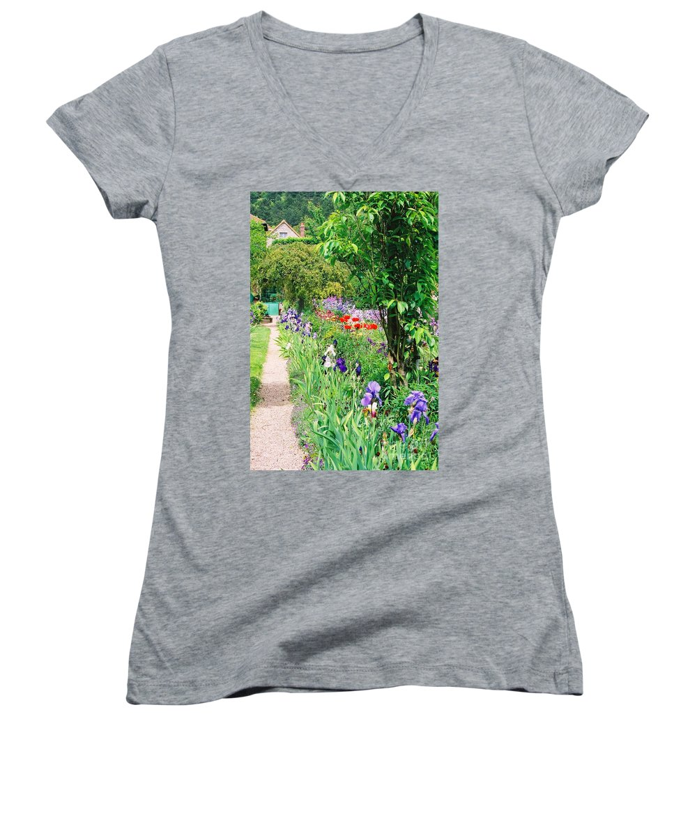 Claude Monet Women's V-Neck (Athletic Fit) featuring the photograph Path To Monet's House by Nadine Rippelmeyer