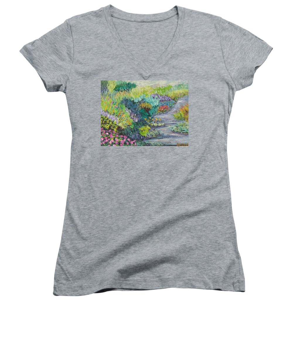 Flowers Women's V-Neck T-Shirt featuring the painting Pathway Of Flowers by Richard Nowak