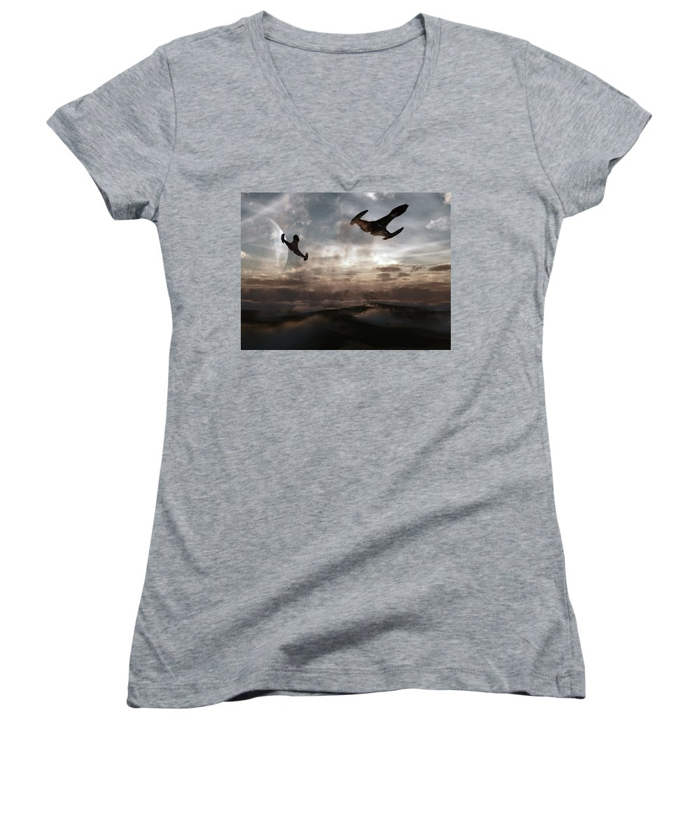 Sci-fi Women's V-Neck T-Shirt featuring the digital art Patrol Of Sector 9 by Richard Rizzo