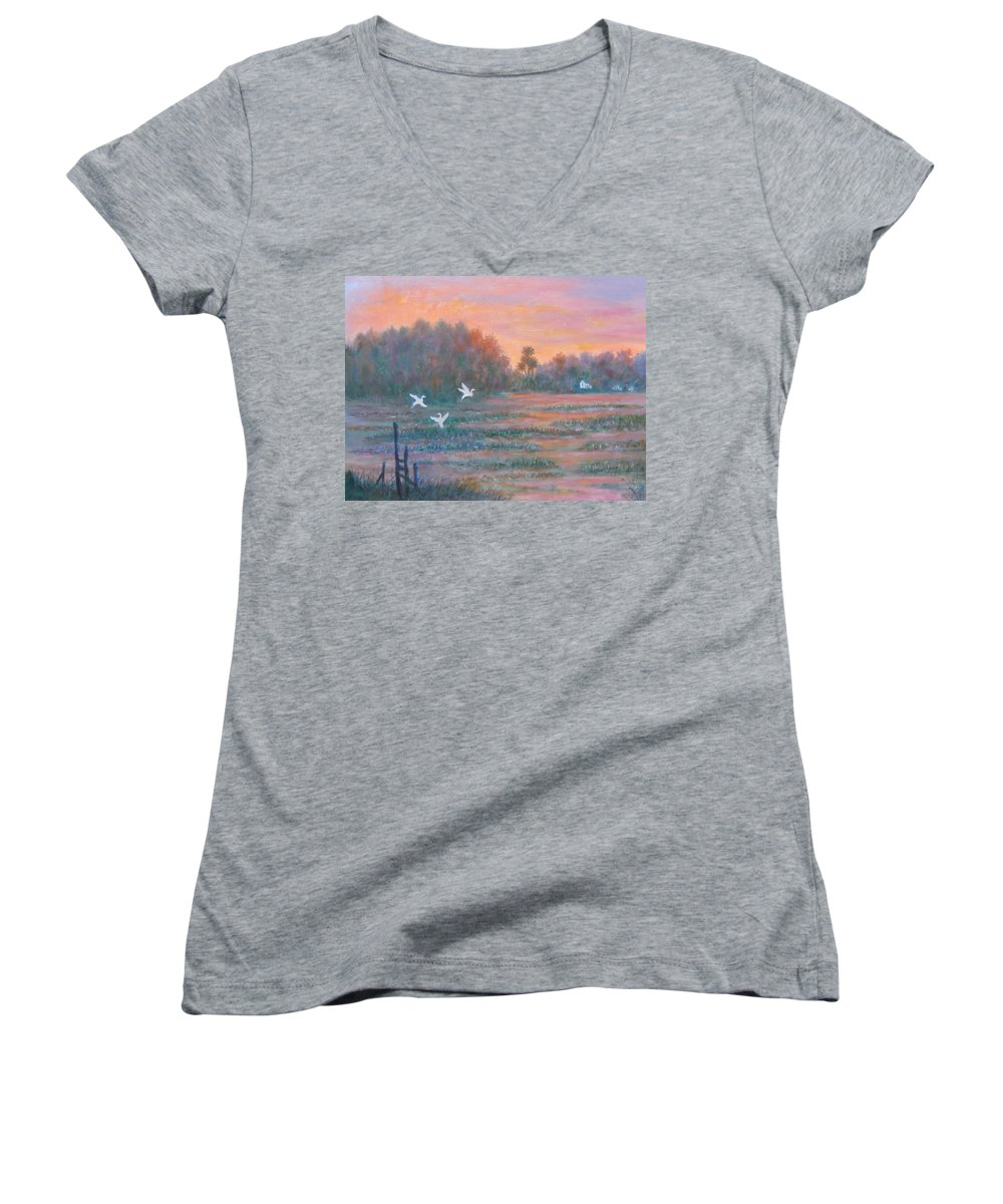 Low Country; Egrets; Sunset Women's V-Neck T-Shirt featuring the painting Pawleys Island by Ben Kiger