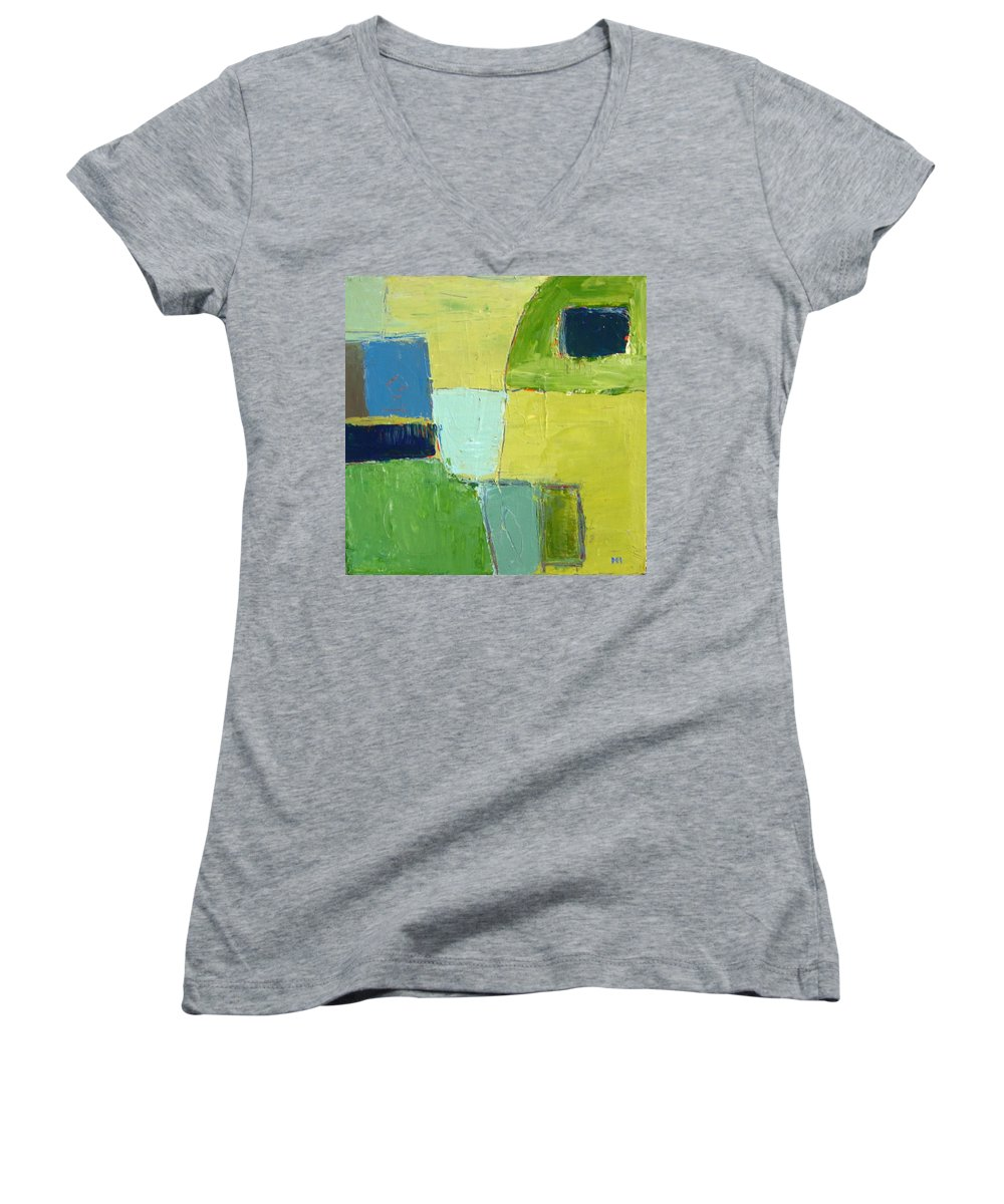 Abstract Women's V-Neck T-Shirt featuring the painting Peace 1 by Habib Ayat