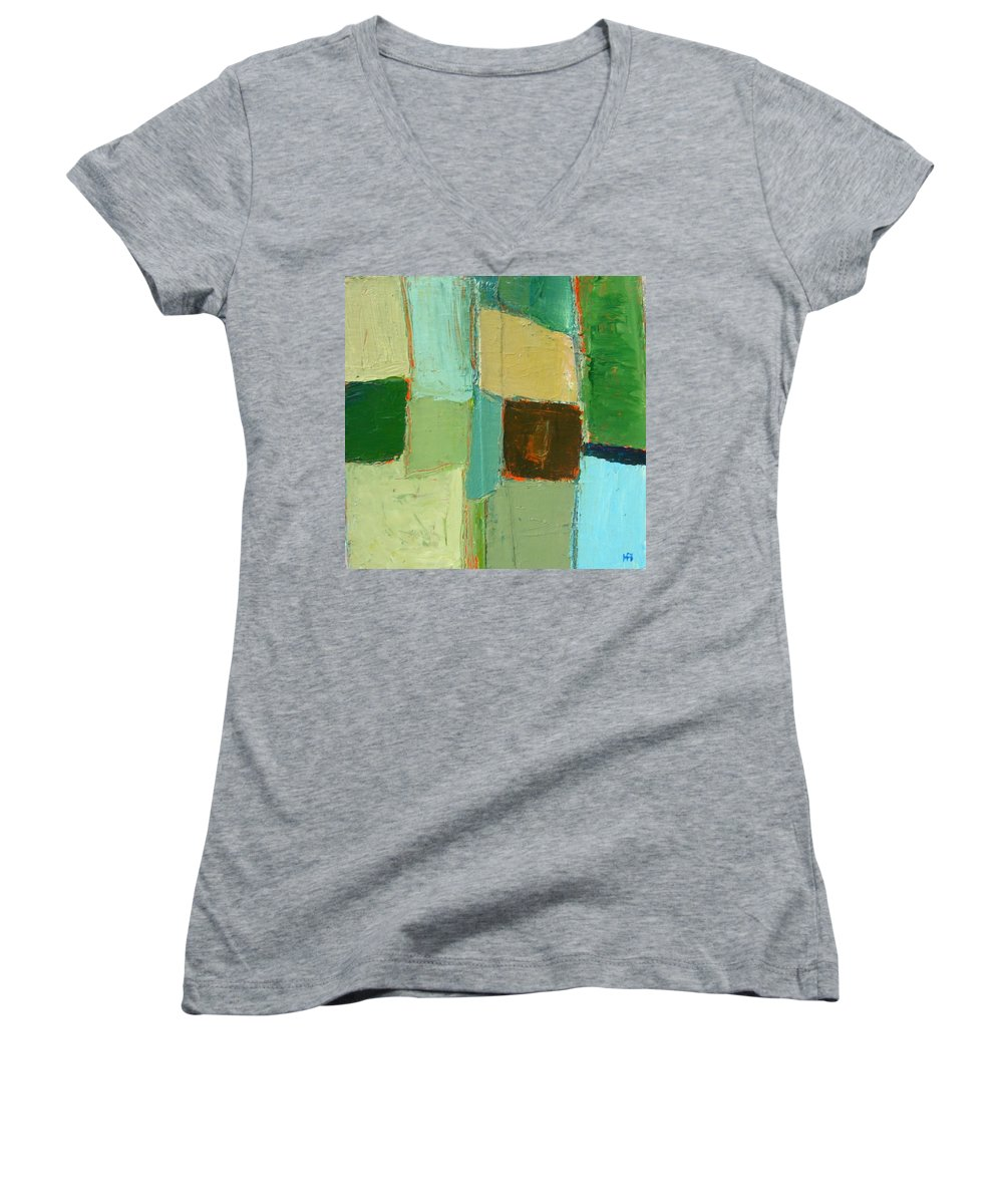 Women's V-Neck T-Shirt featuring the painting Peace 2 by Habib Ayat