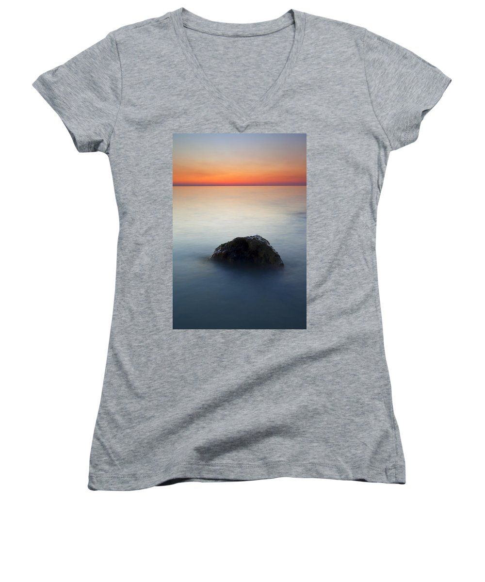 Rock Women's V-Neck (Athletic Fit) featuring the photograph Peaceful Isolation by Mike Dawson