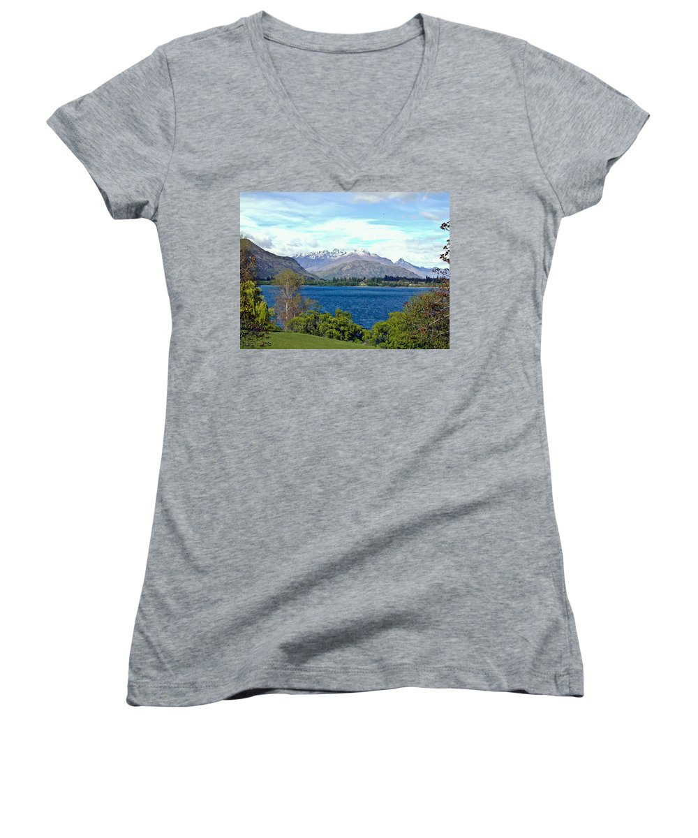 Lake Women's V-Neck (Athletic Fit) featuring the photograph Peaceful Lake -- New Zealand by Douglas Barnett