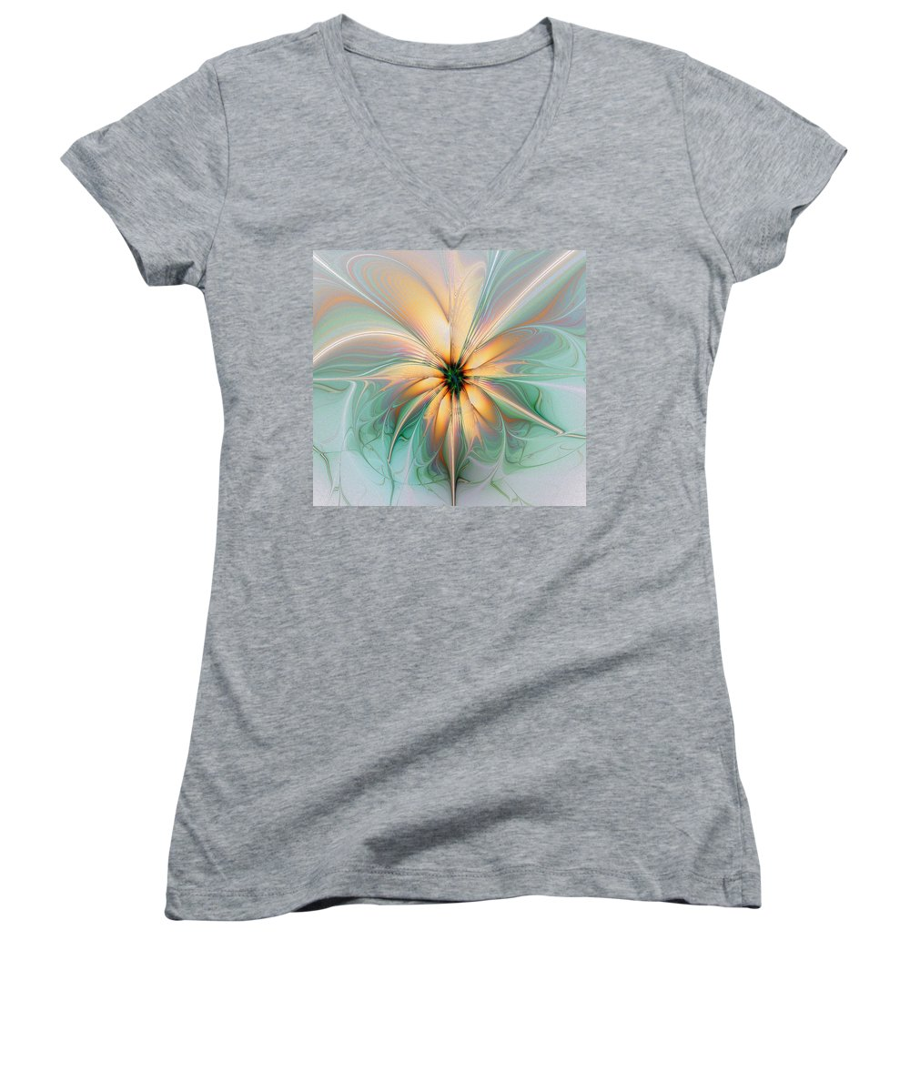 Digital Art Women's V-Neck T-Shirt featuring the digital art Peach Allure by Amanda Moore
