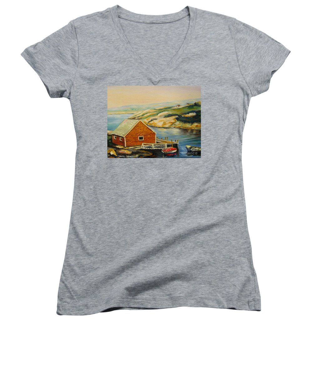 Peggy's Cove Harbor View Women's V-Neck (Athletic Fit) featuring the painting Peggys Cove Harbor View by Carole Spandau