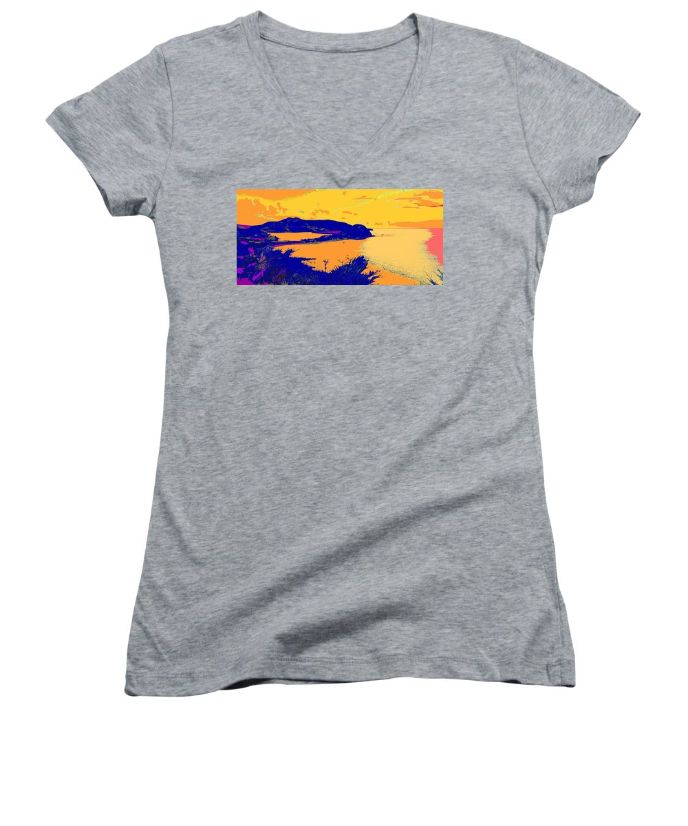 St Kitts Women's V-Neck (Athletic Fit) featuring the photograph Peninsula Orange by Ian MacDonald