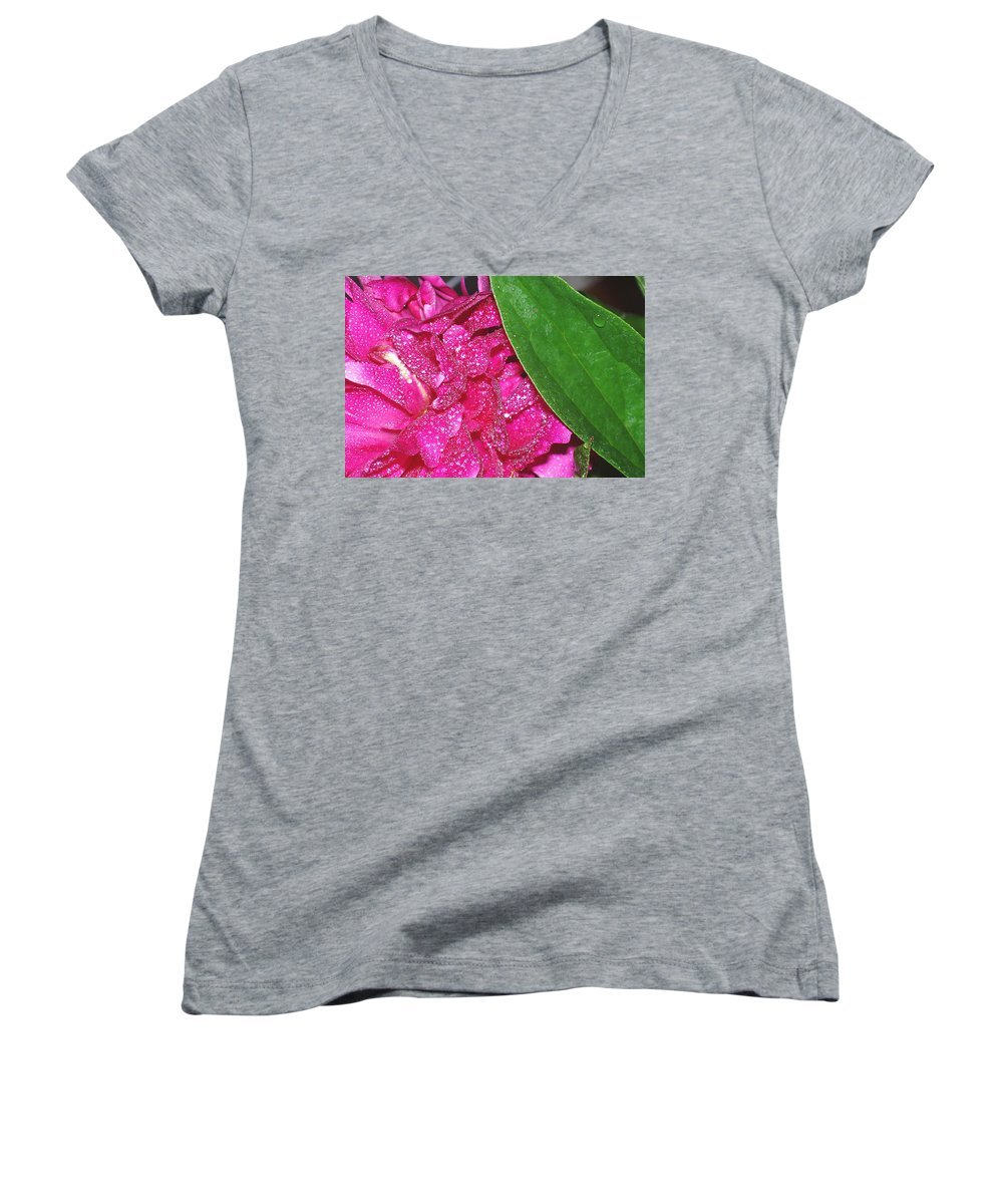 Peony Women's V-Neck T-Shirt featuring the photograph Peony And Leaf by Nancy Mueller