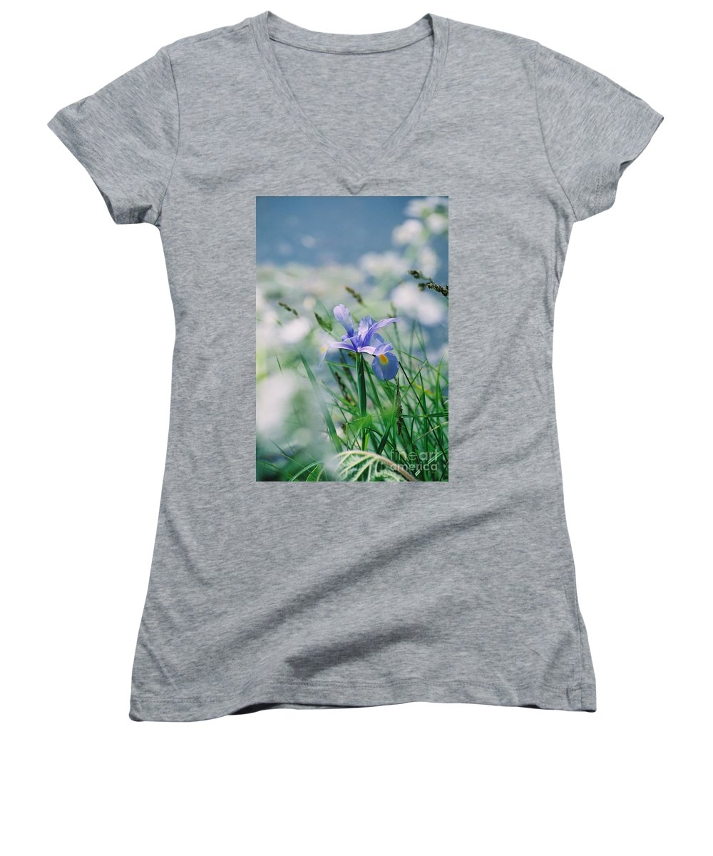 Periwinkle Women's V-Neck T-Shirt featuring the photograph Periwinkle Iris by Nadine Rippelmeyer