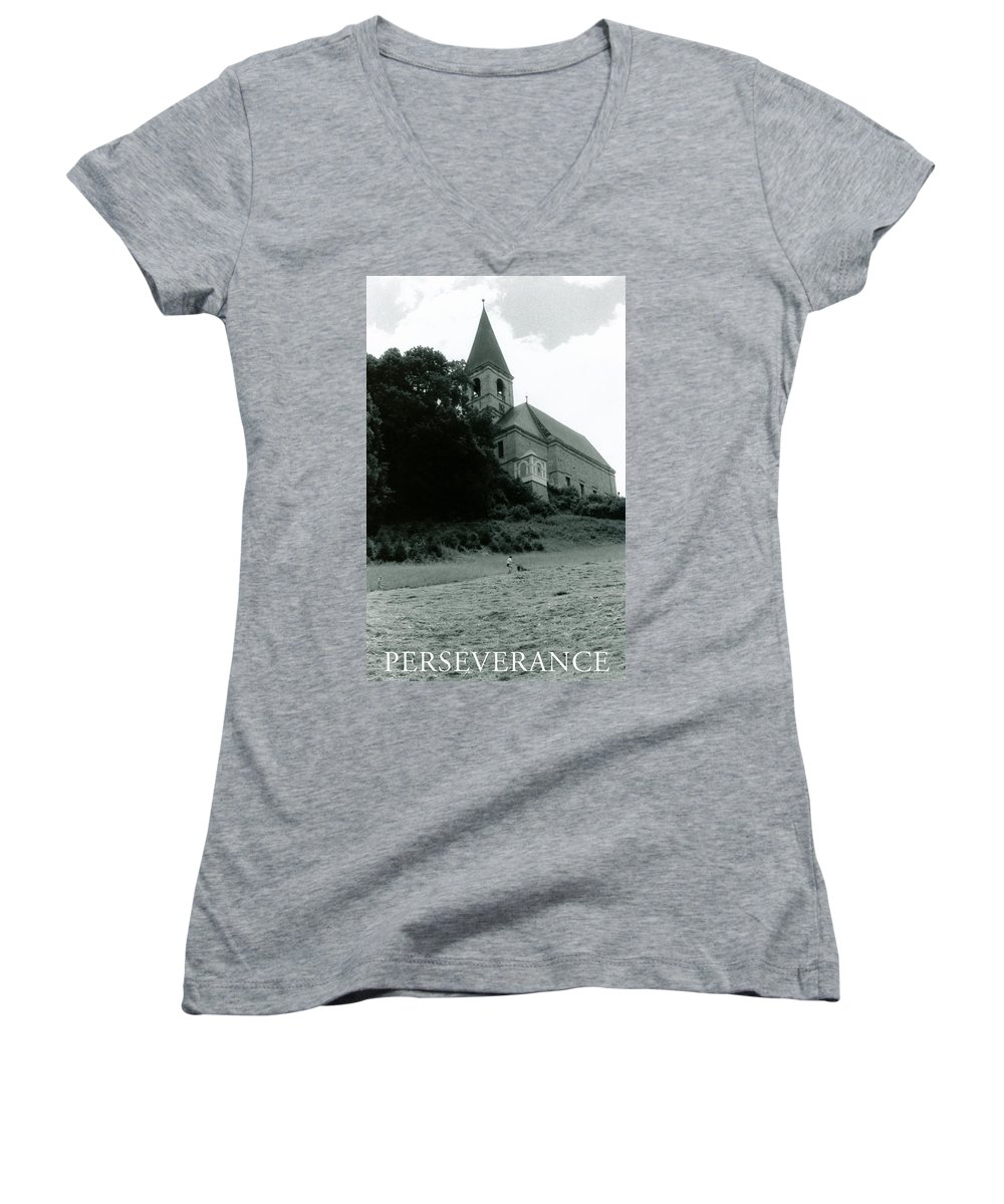 Church Women's V-Neck T-Shirt featuring the photograph Perseverance by Michelle Calkins