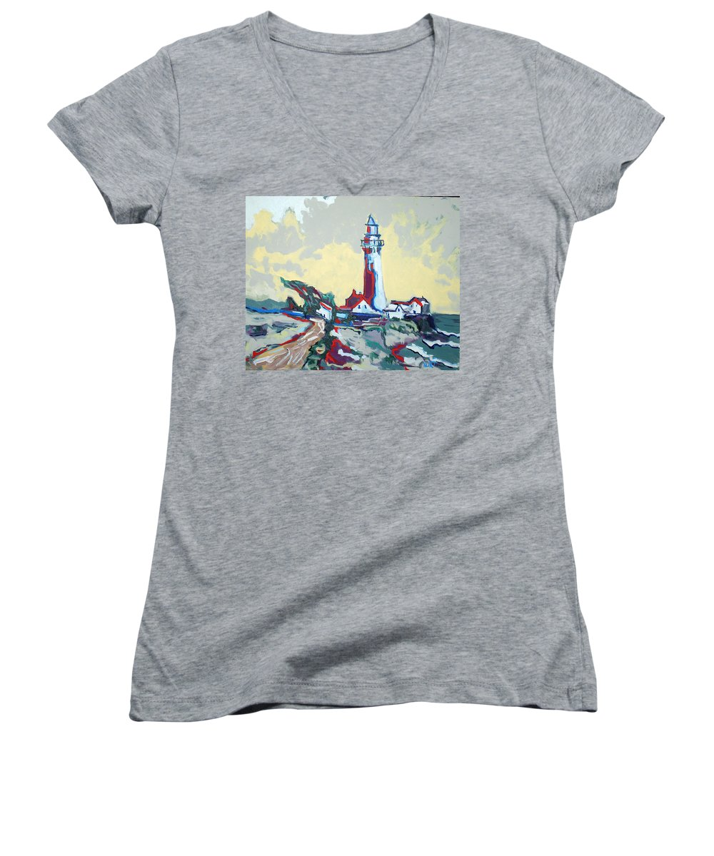 Ligthouse Women's V-Neck (Athletic Fit) featuring the painting Pigeon Point by Kurt Hausmann