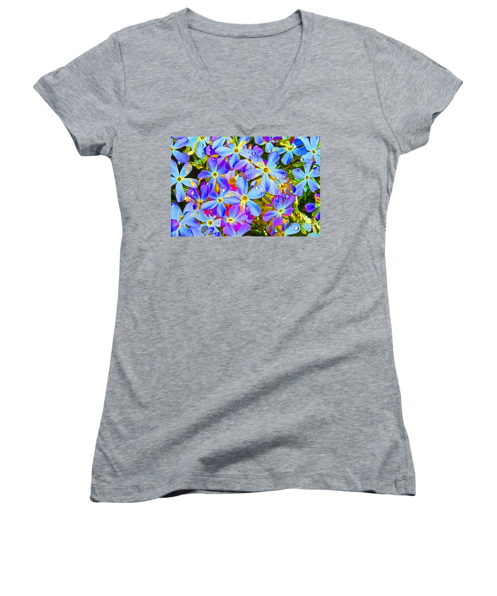 Wildflower Women's V-Neck T-Shirt featuring the photograph Pincushion Flower by Heather Coen