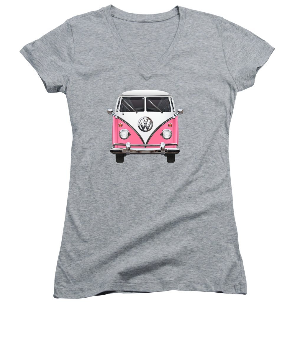 'volkswagen Type 2' Collection By Serge Averbukh Women's V-Neck T-Shirt (Junior Cut) featuring the photograph Pink And White Volkswagen T 1 Samba Bus On Yellow by Serge Averbukh