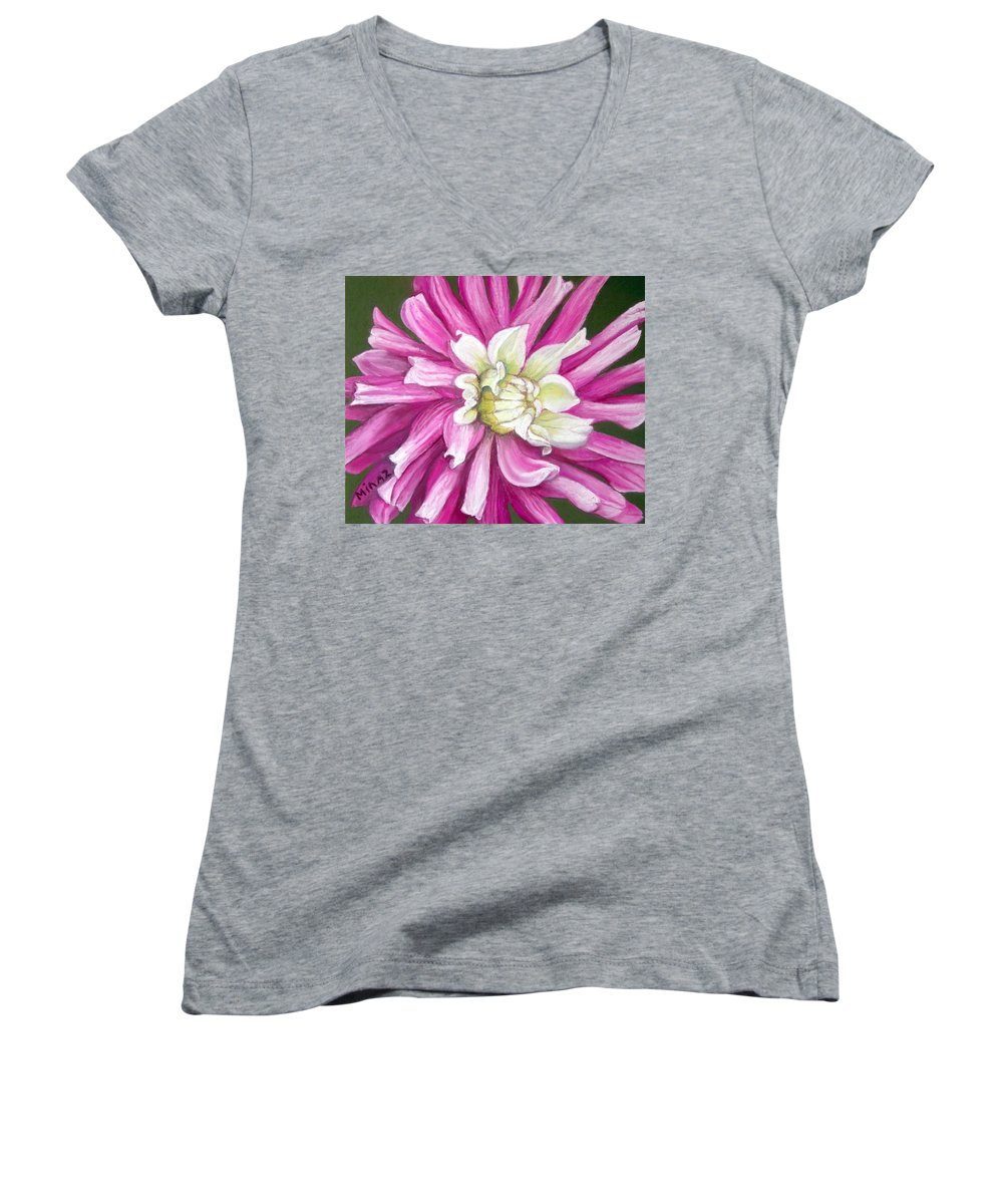 Floral Women's V-Neck T-Shirt featuring the painting Pink Petal Blast by Minaz Jantz
