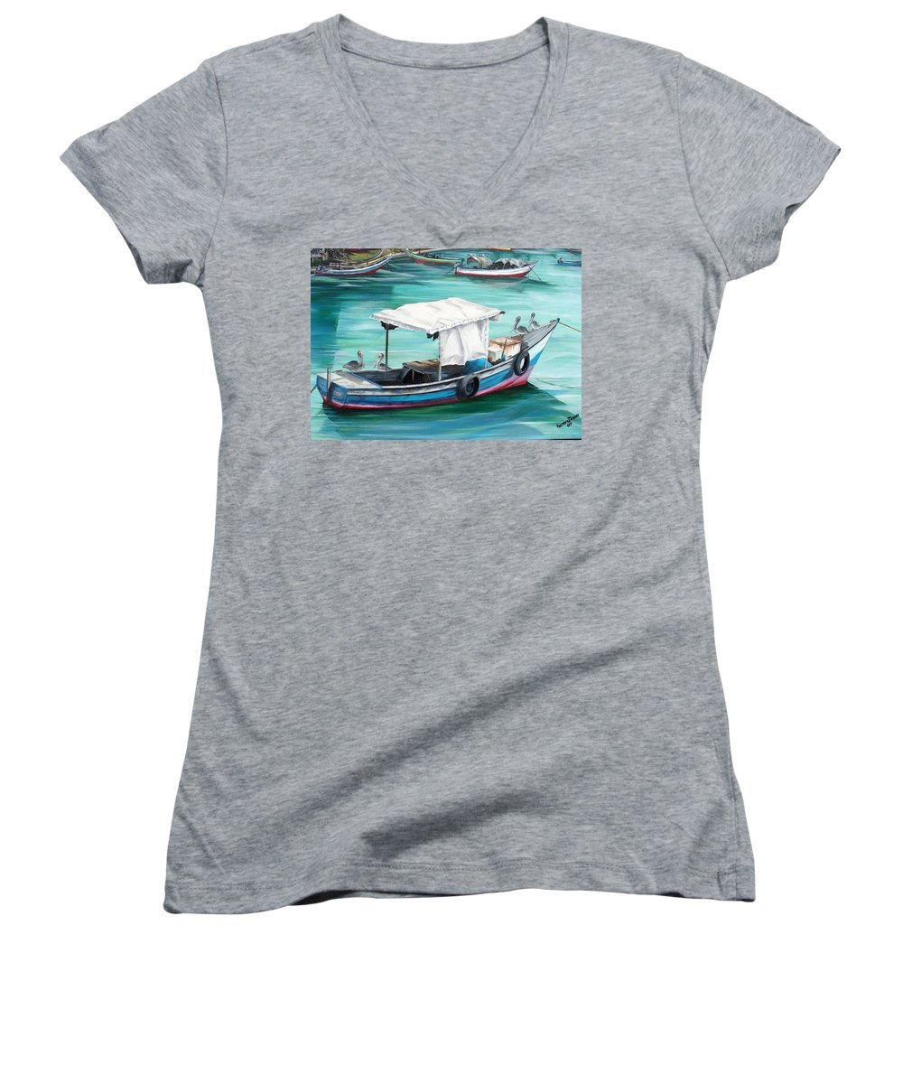 Fishing Boat Painting Seascape Ocean Painting Pelican Painting Boat Painting Caribbean Painting Pirogue Oil Fishing Boat Trinidad And Tobago Women's V-Neck (Athletic Fit) featuring the painting Pirogue Fishing Boat by Karin Dawn Kelshall- Best