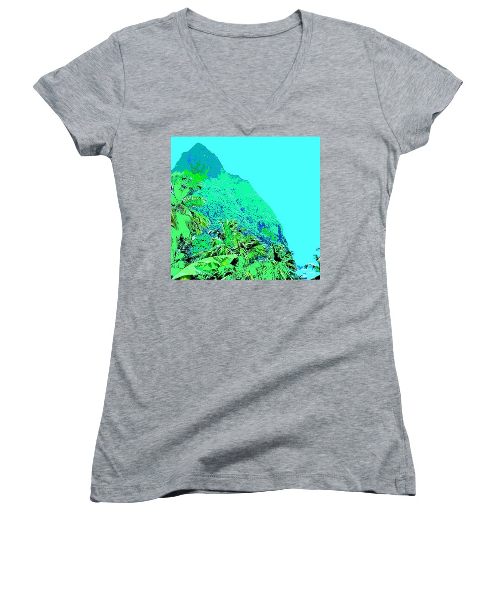 Pitons Women's V-Neck T-Shirt featuring the photograph Pitons by Ian MacDonald