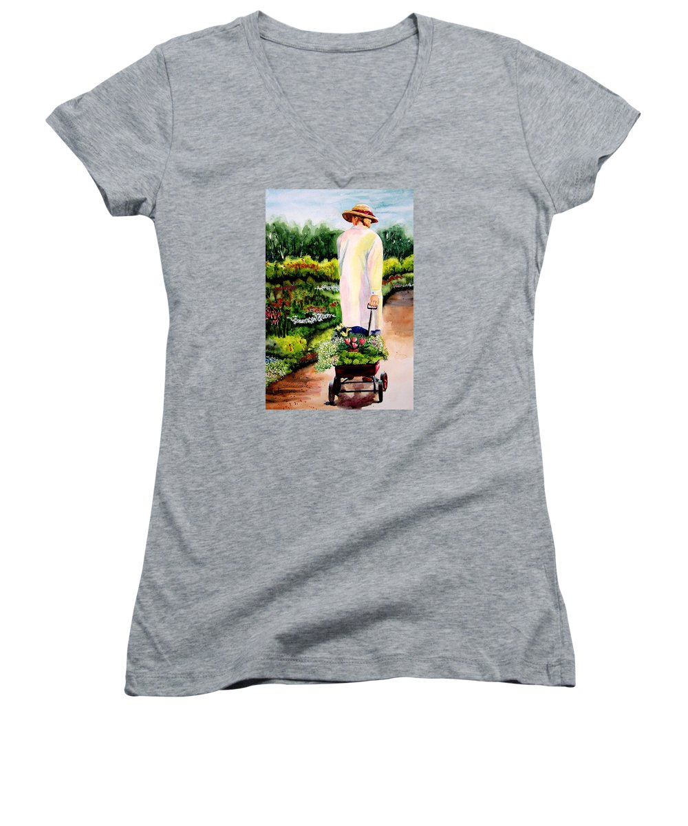 Garden Women's V-Neck (Athletic Fit) featuring the painting Planting Plans by Karen Stark