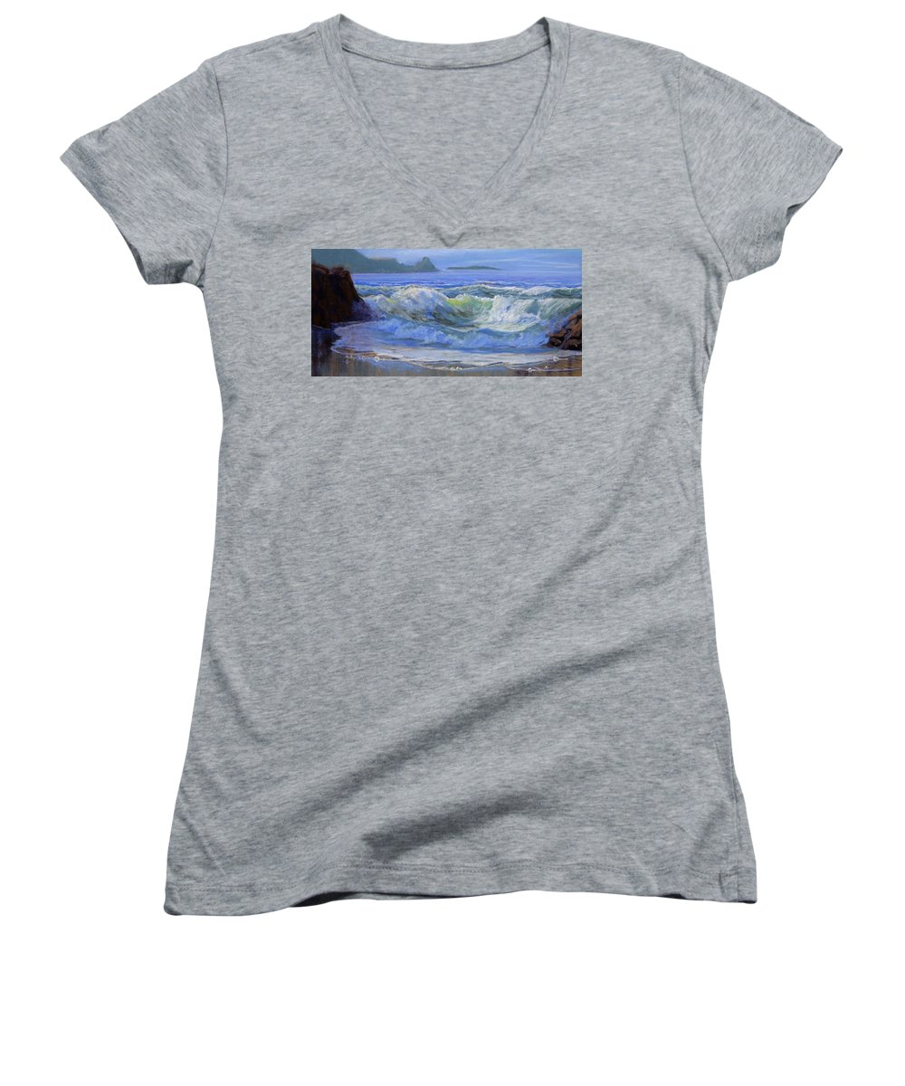 Seascape Women's V-Neck T-Shirt featuring the painting Point Reyes by Heather Coen
