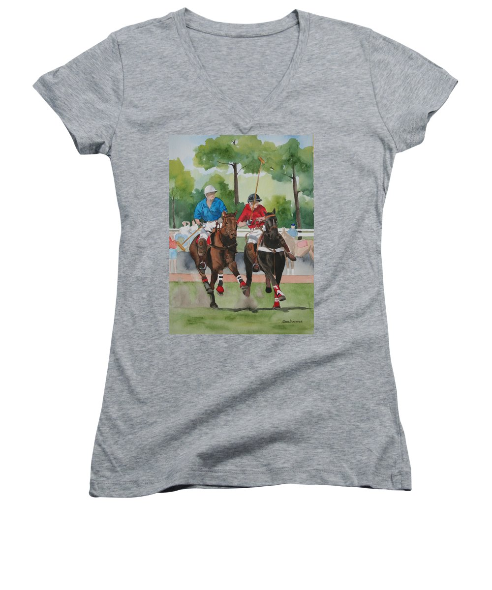 Polo Women's V-Neck (Athletic Fit) featuring the painting Polo In The Afternoon 2 by Jean Blackmer