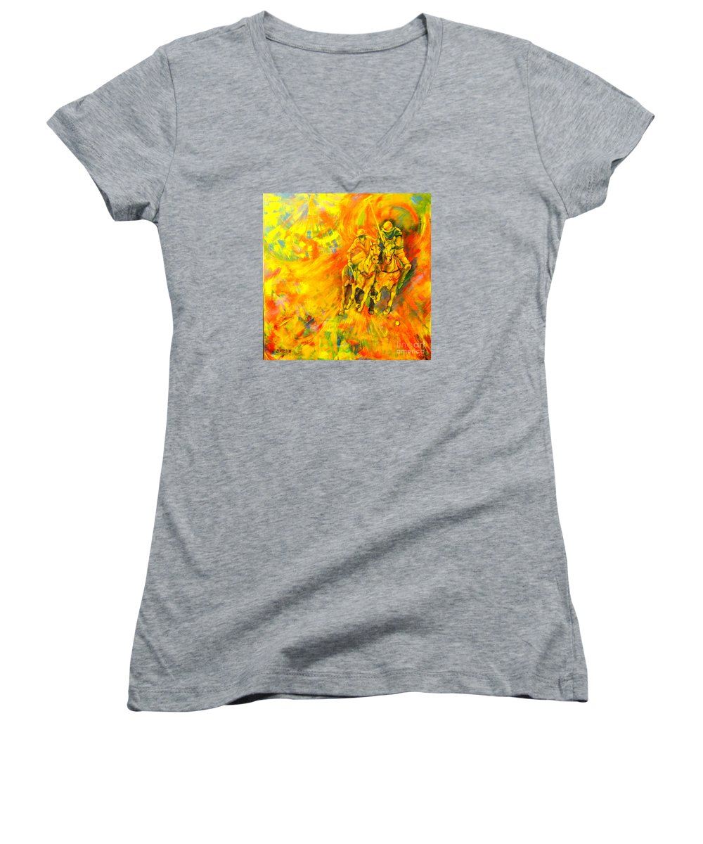 Horses Women's V-Neck (Athletic Fit) featuring the painting Poloplayer by Dagmar Helbig