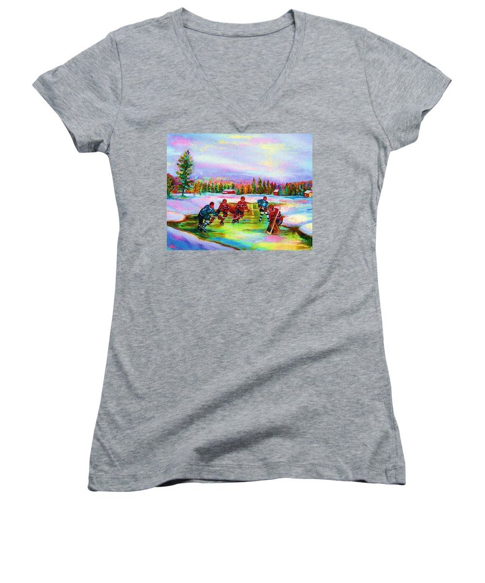 Hockey Women's V-Neck T-Shirt featuring the painting Pond Hockey Blue Skies by Carole Spandau