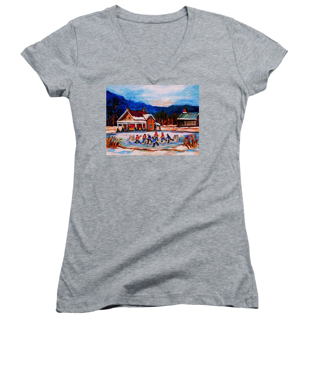 Hockey Women's V-Neck T-Shirt featuring the painting Pond Hockey by Carole Spandau
