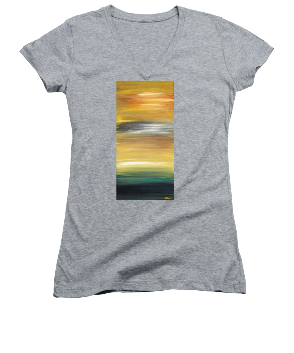 Waves Women's V-Neck T-Shirt featuring the painting Pond by Todd Hoover