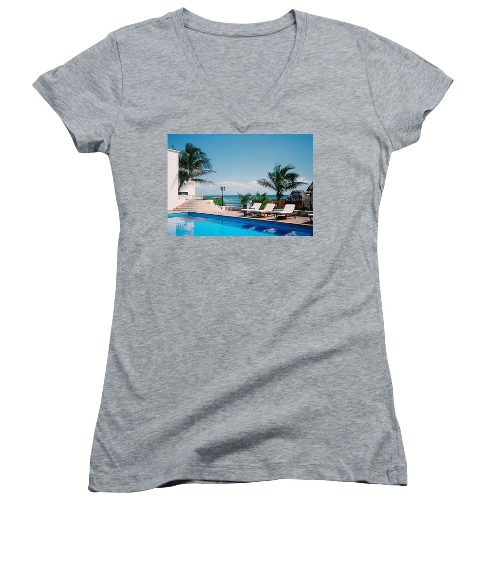 Resort Women's V-Neck T-Shirt featuring the photograph Poolside by Anita Burgermeister