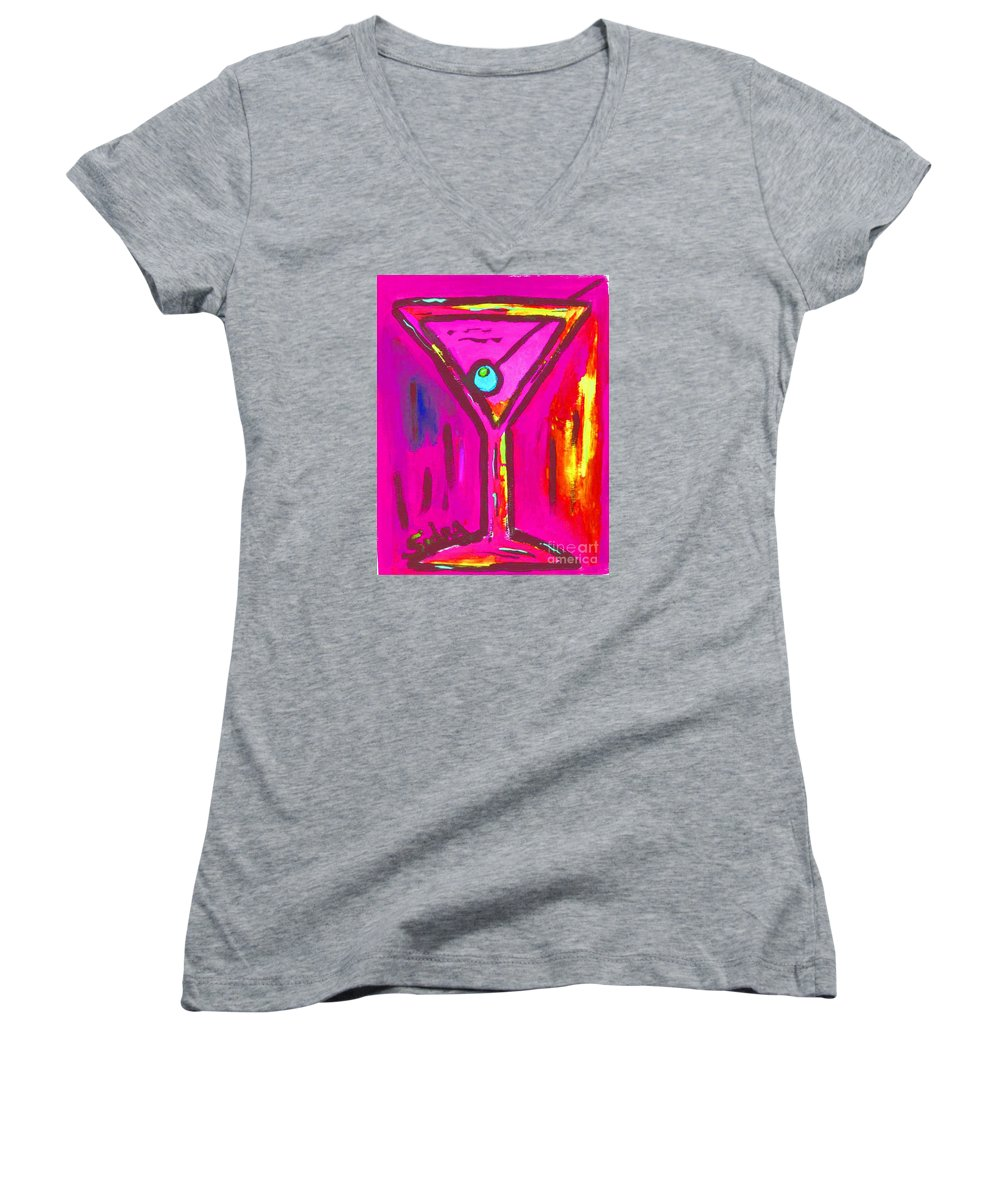 Martini Women's V-Neck T-Shirt featuring the painting Pop Art Martini Pink Neon Series 1989 by Sidra Myers