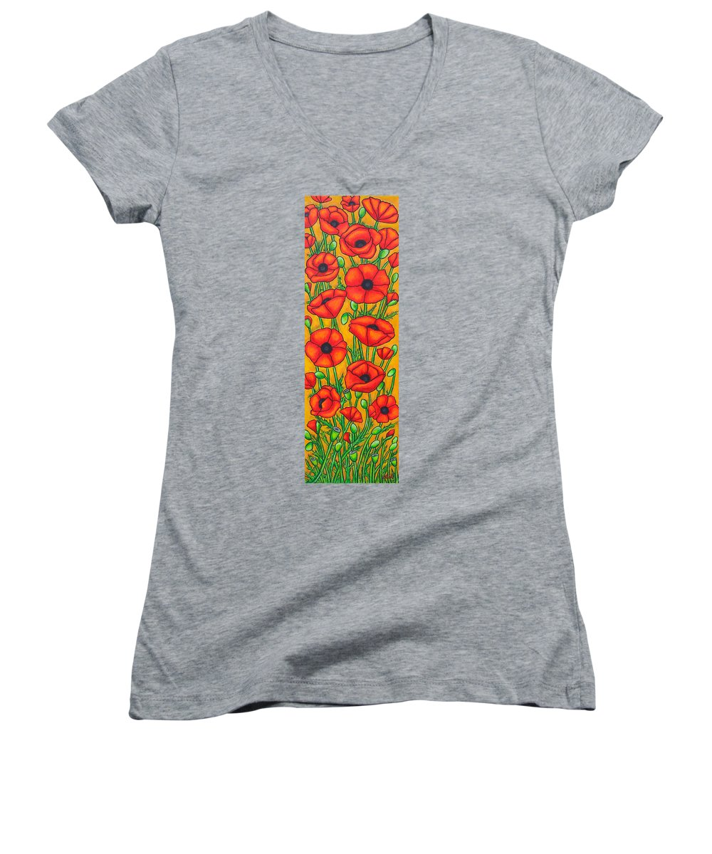 Poppies Women's V-Neck T-Shirt featuring the painting Poppies Under The Tuscan Sun by Lisa Lorenz