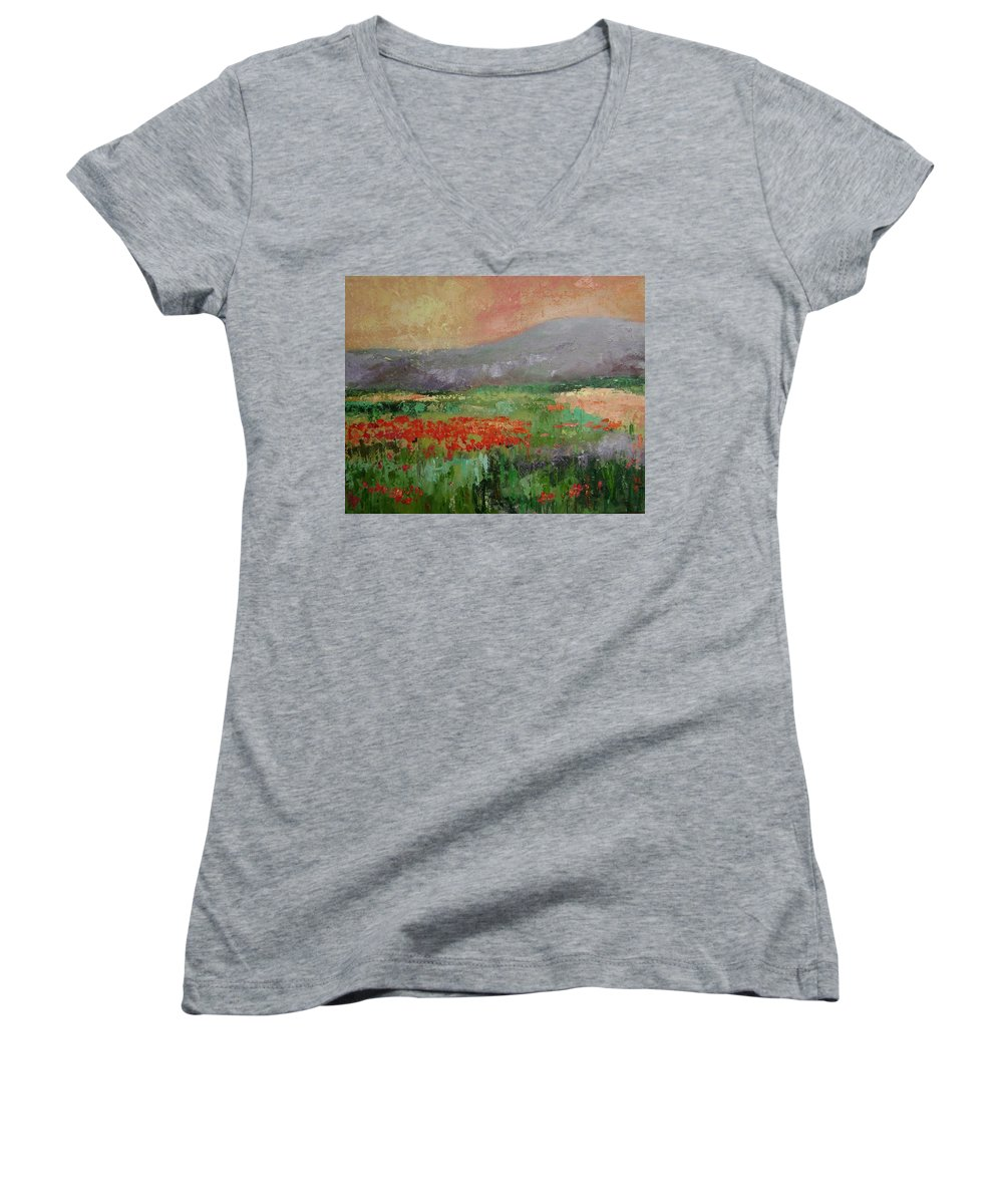 Poppies Women's V-Neck (Athletic Fit) featuring the painting Poppyfield by Ginger Concepcion