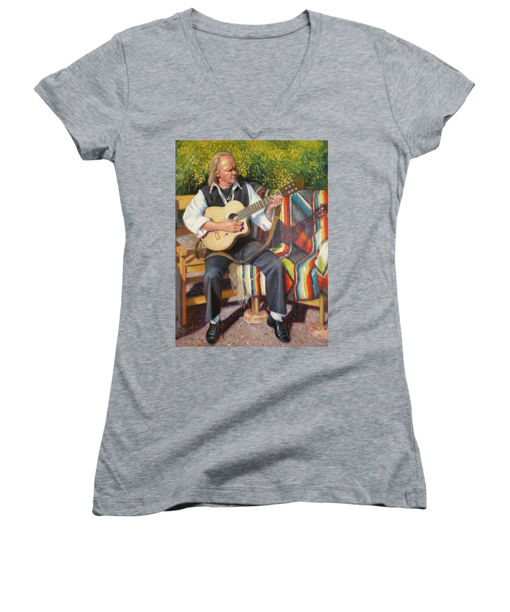 Realism Women's V-Neck (Athletic Fit) featuring the painting Por Tu Amor by Donelli DiMaria
