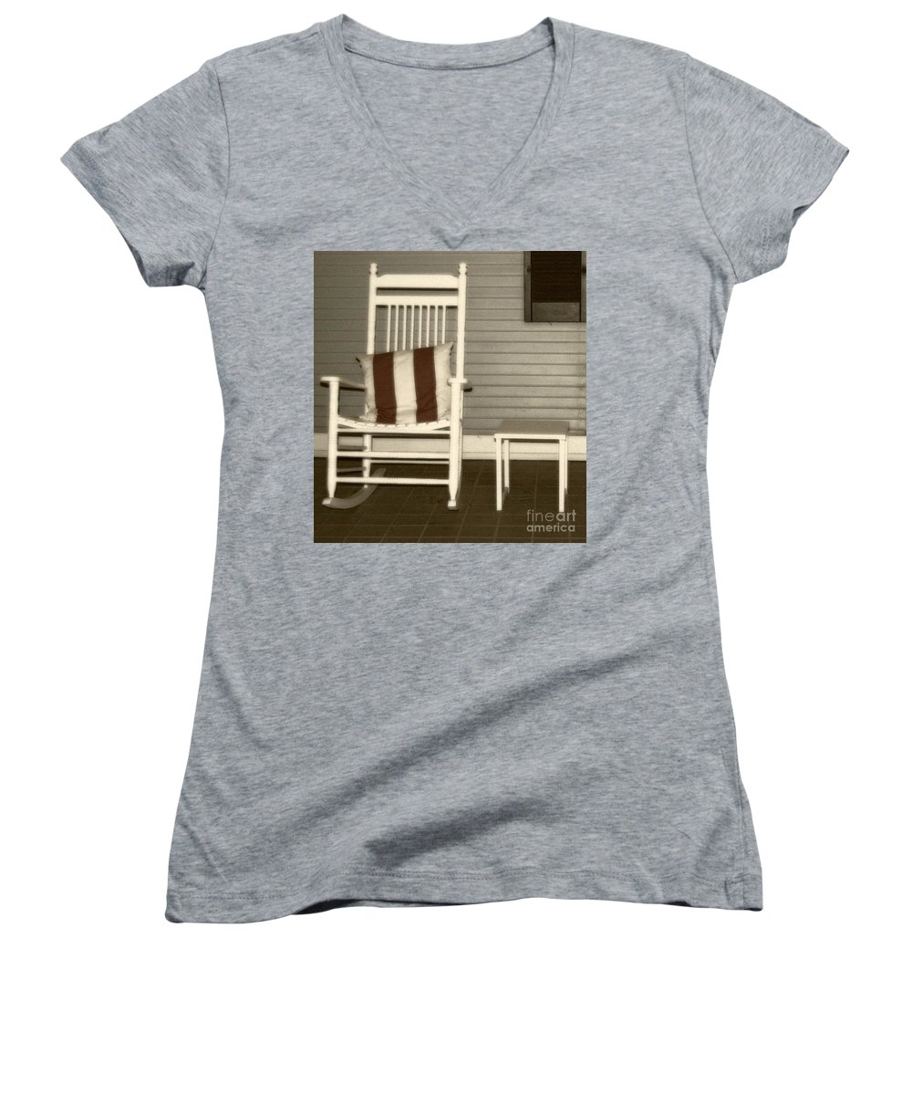 Rocking Chair Women's V-Neck T-Shirt featuring the photograph Porch Rocker by Debbi Granruth