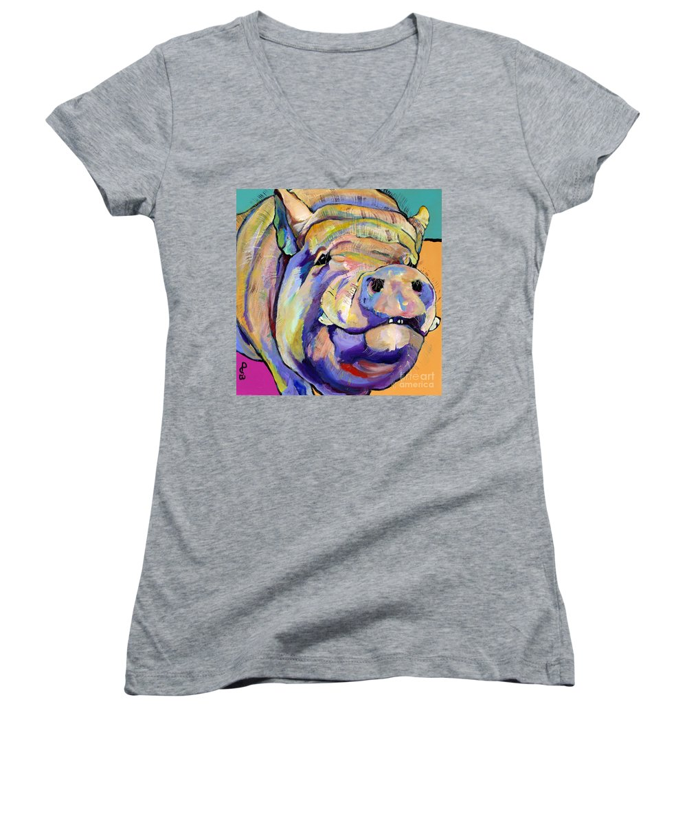 Pig Prints Women's V-Neck (Athletic Fit) featuring the painting Potbelly by Pat Saunders-White