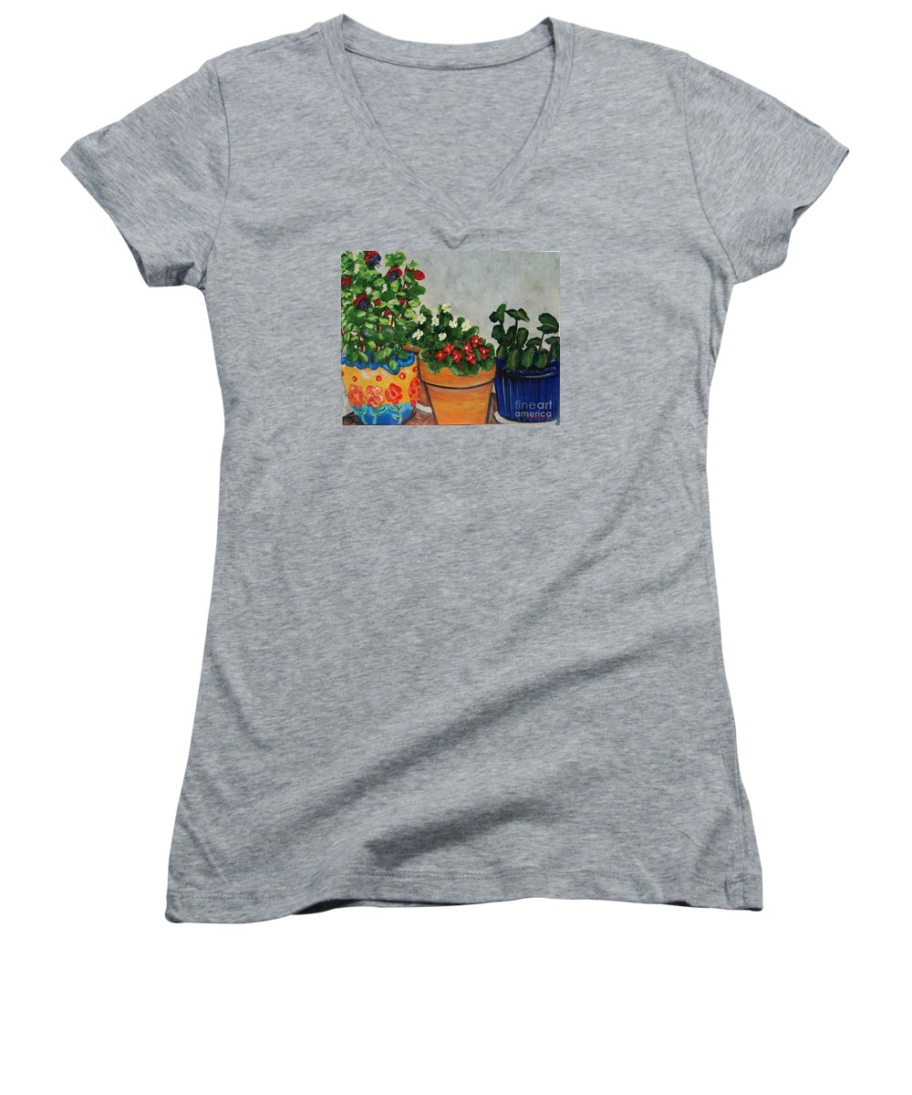 Ceramic Pots Women's V-Neck T-Shirt featuring the painting Pots Showing Off by Laurie Morgan