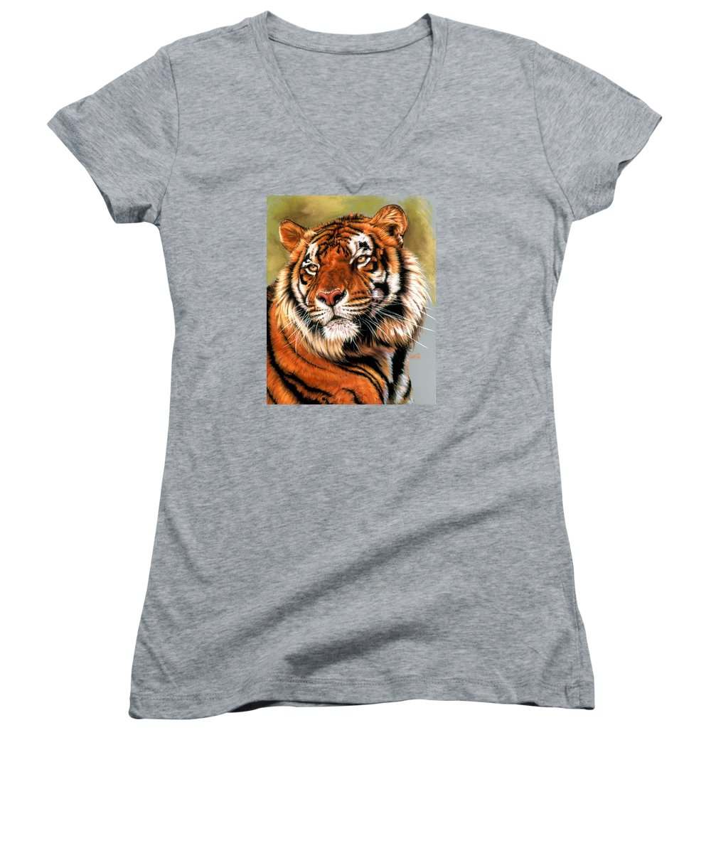 Tiger Women's V-Neck T-Shirt featuring the pastel Power And Grace by Barbara Keith