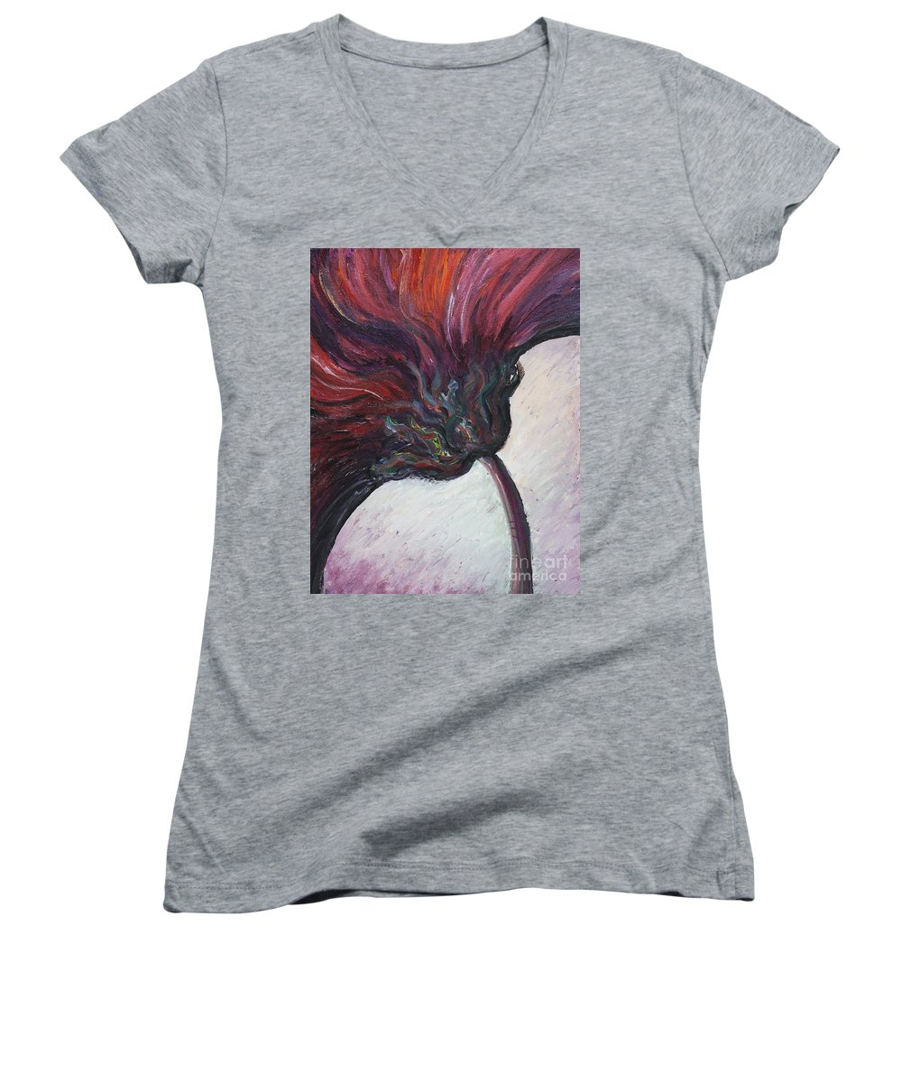 Purple Women's V-Neck T-Shirt featuring the painting Power Of Purple by Nadine Rippelmeyer