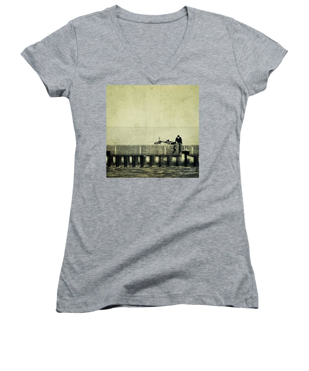 Man Women's V-Neck T-Shirt featuring the photograph Praying To A God I Dont Believe In by Dana DiPasquale