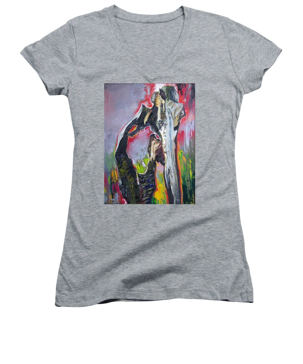 Oil Women's V-Neck (Athletic Fit) featuring the painting Presentiment by Sergey Ignatenko