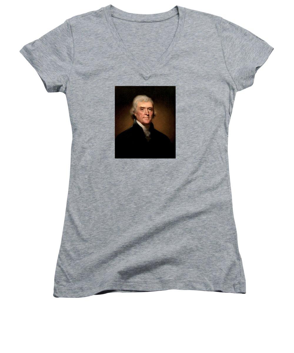 Thomas Jefferson Junior V-Neck T-Shirts
