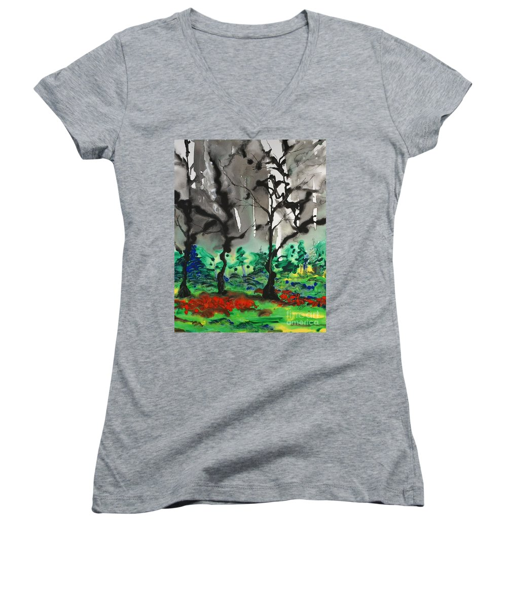 Forest Women's V-Neck T-Shirt featuring the painting Primary Forest by Nadine Rippelmeyer