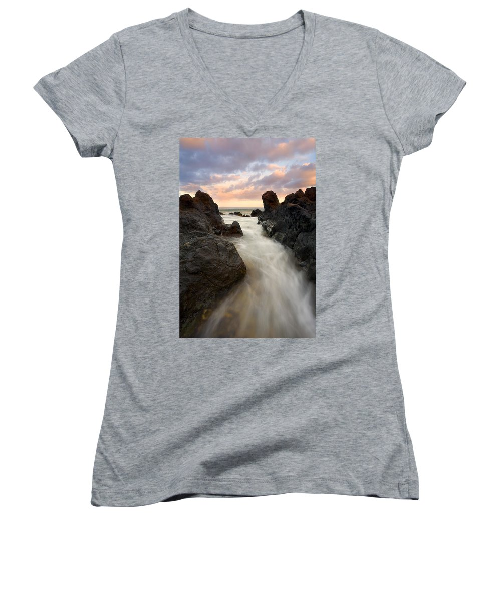 Sunrise Women's V-Neck T-Shirt featuring the photograph Primordial Tides by Mike Dawson