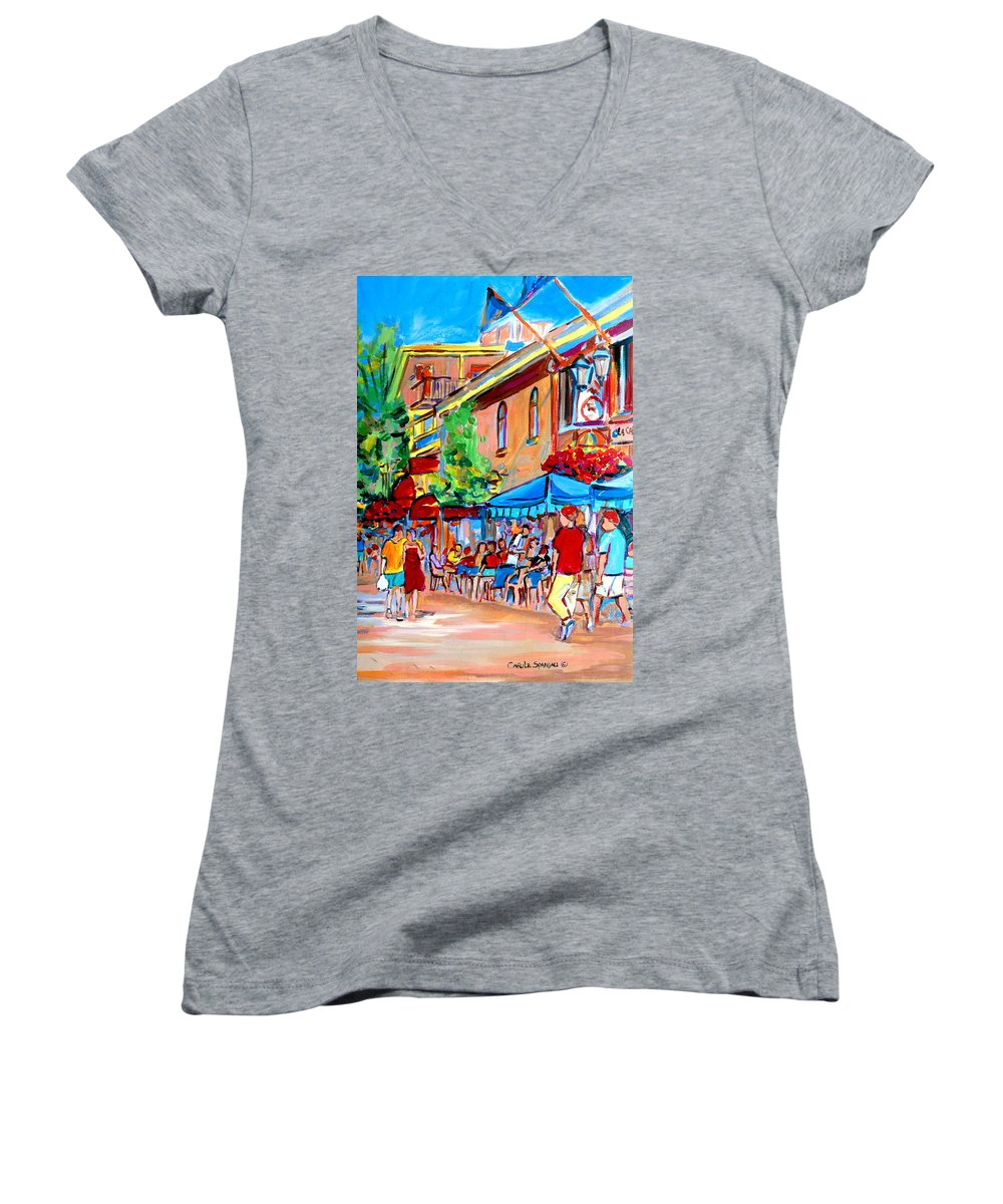 Cafes Women's V-Neck T-Shirt featuring the painting Prince Arthur Street Summer by Carole Spandau