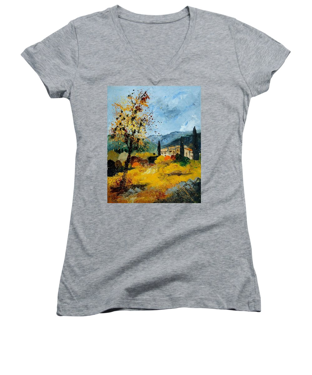 Provence Women's V-Neck T-Shirt featuring the painting Provence 45 by Pol Ledent
